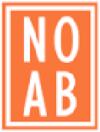 logo NOAB, oranje achtergrond met witte letters en omlijsting